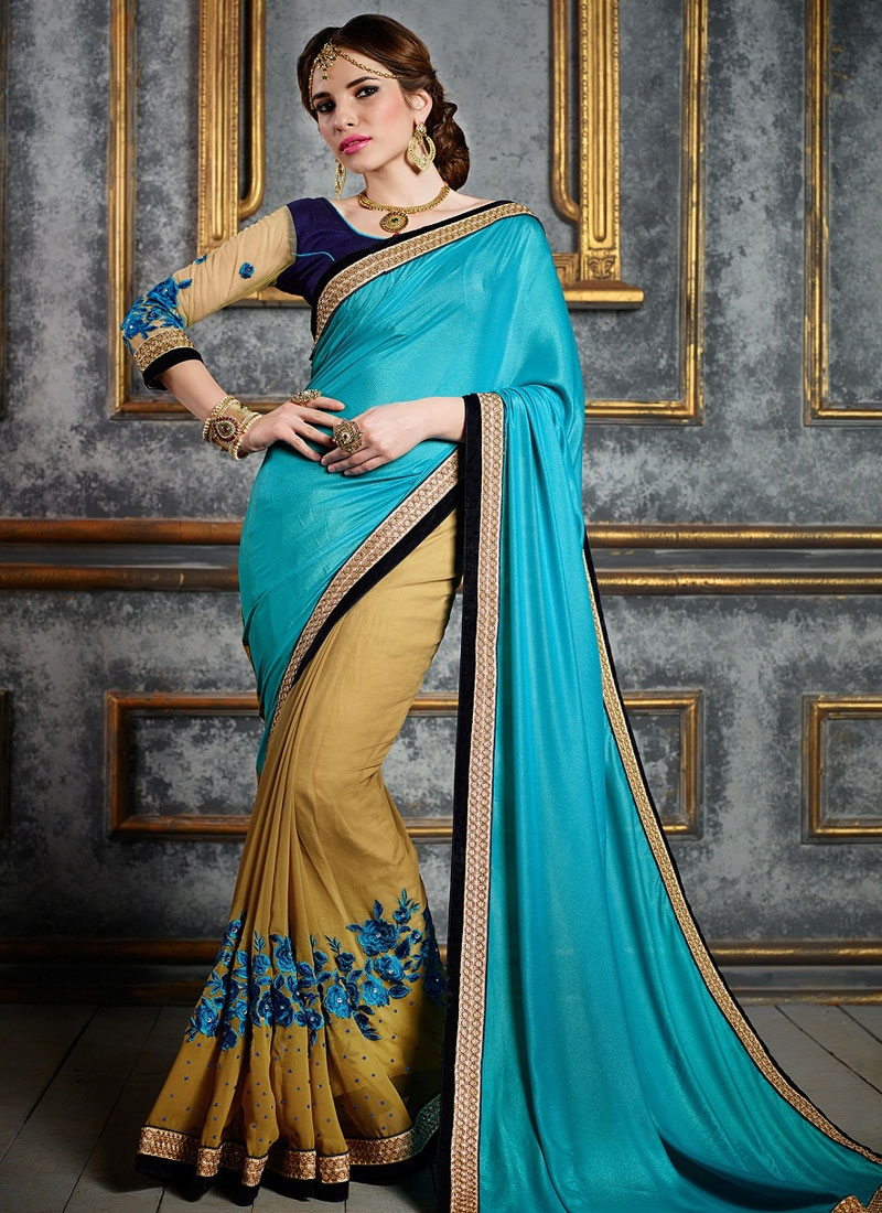 Modern Floral And Stones Work Half N Half Designer Saree