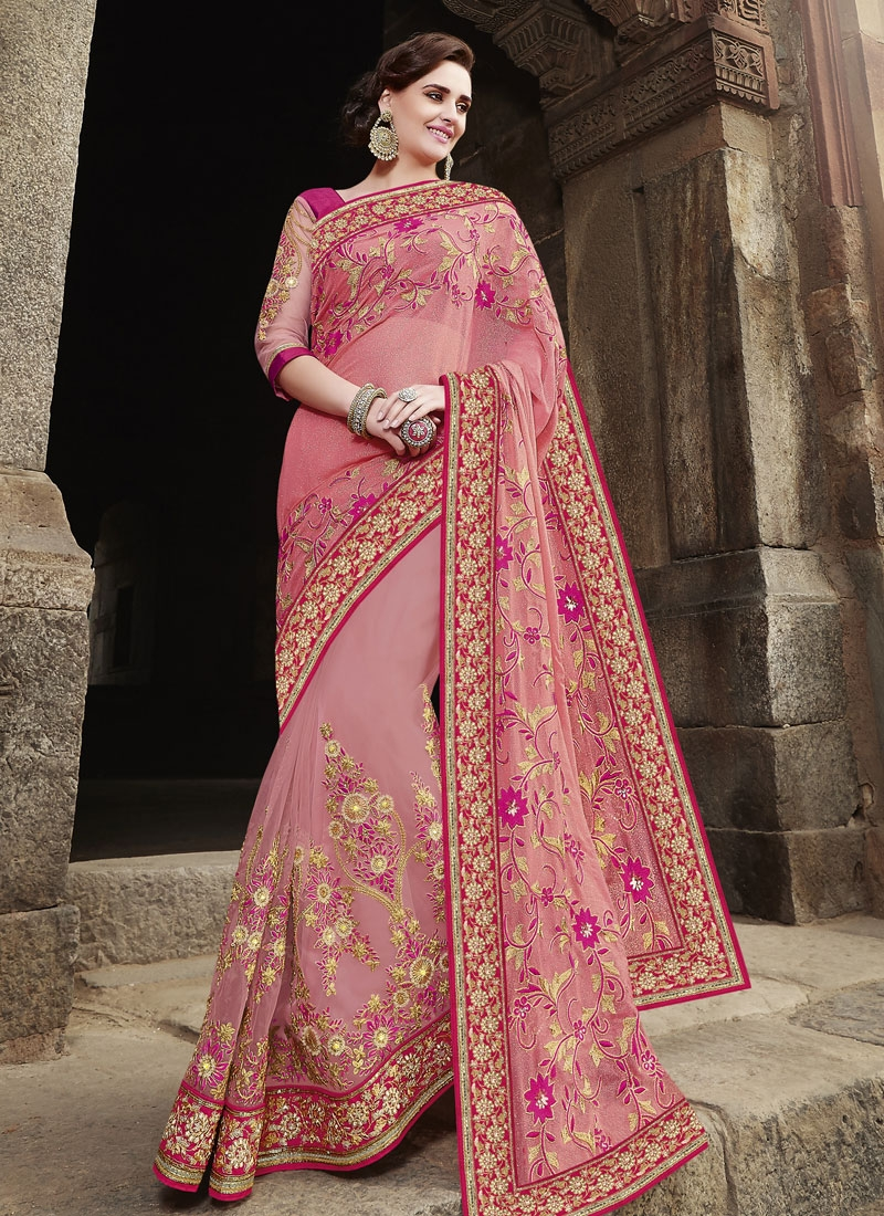 Modern Floral Work Pure Georgette Wedding Saree