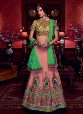 Modern Mint Green and Salmon Booti Work Art Silk Trendy A Line Lehenga Choli