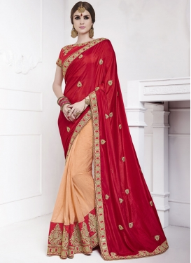 Modern  Peach and Red Silk Beads Work Half N Half Saree