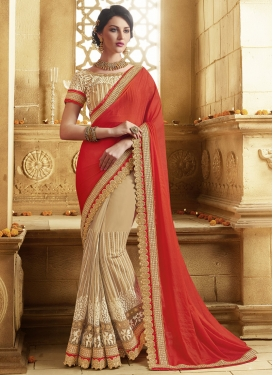 Modern Pure Georgette And Net Half N Half Wedding Saree