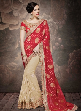 Modern Red And Beige Color Net Half N Half Wedding Saree