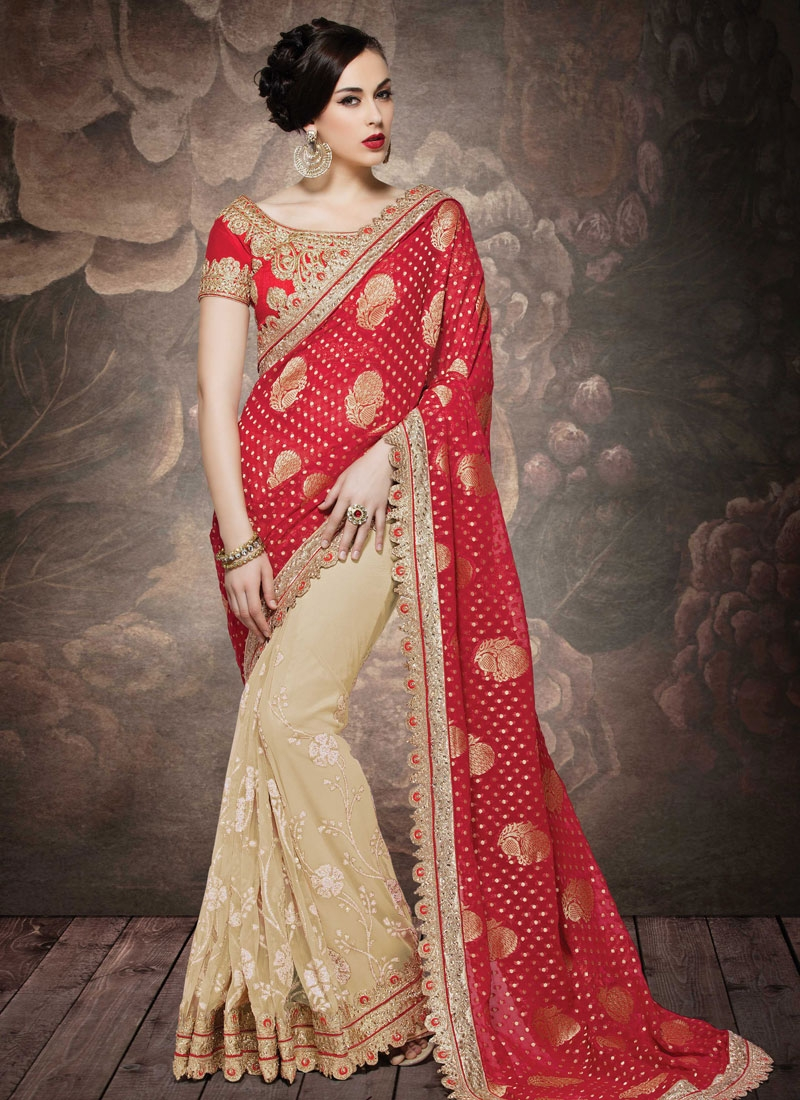 Modern Red And Beige Color Net Half N Half Wedding Saree