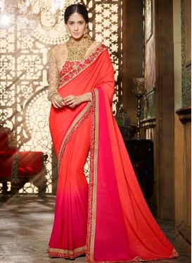 Modern Rose Pink and Tomato Embroidered Work Traditional Saree