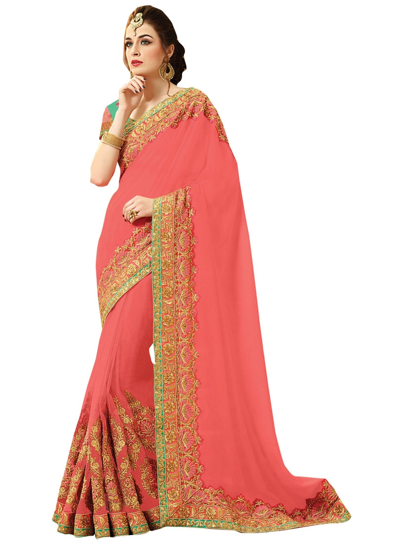 Modern Salmon Color Viscose Bridal Saree