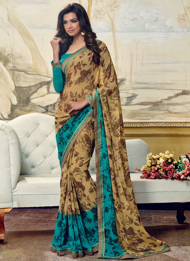 Modernistic Abstract Print Work Casual Saree