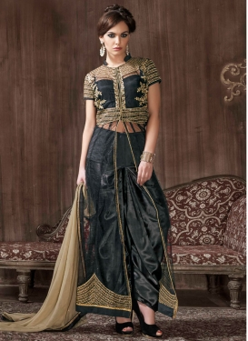 Modernistic Black Color Net Designer Salwar Kameez