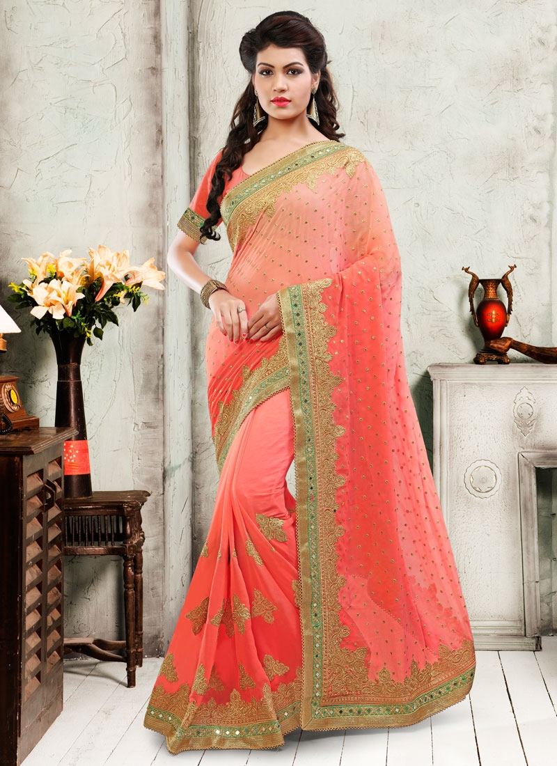 Modernistic Booti And Mirror Work Wedding Saree