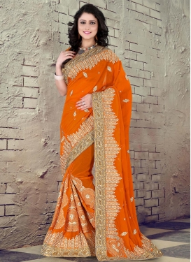 Modernistic Booti Work Faux Chiffon Designer Contemporary Saree