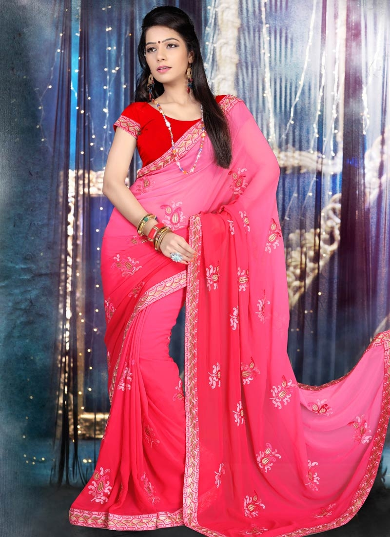 Modernistic Booti Work Faux Georgette Party Wear Saree