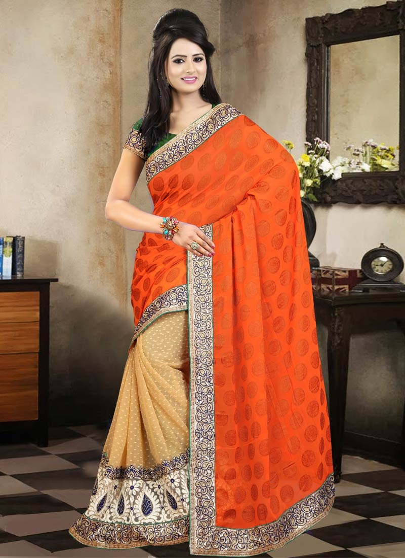 Modernistic Coral Color Stone Work Half N Half Party Wear Saree