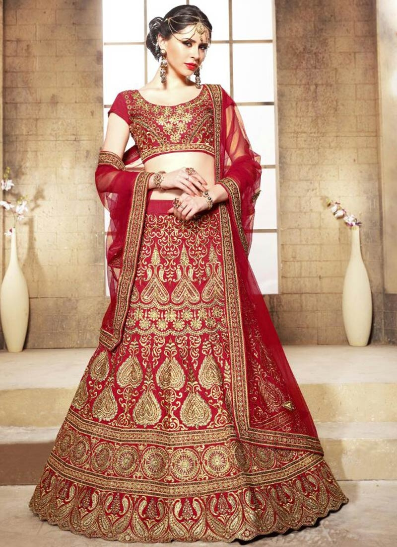 Modernistic Embroidery And Stone Work Bridal Lehenga Choli