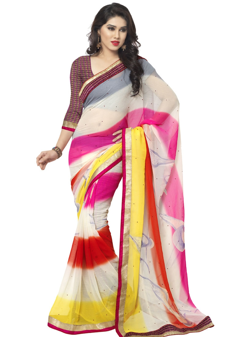 Modernistic Faux Chiffon Resham Work Casual Saree