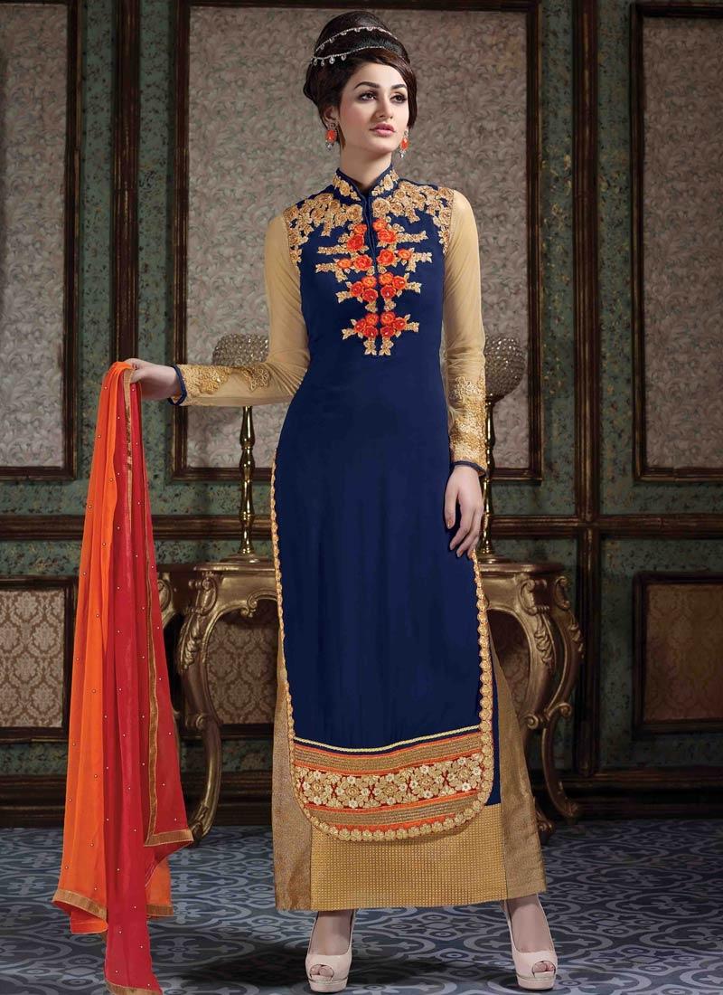 Modernistic Floral Work Long Length Designer Salwar Kameez
