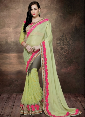 Modernistic Floral Work Net Designer Saree