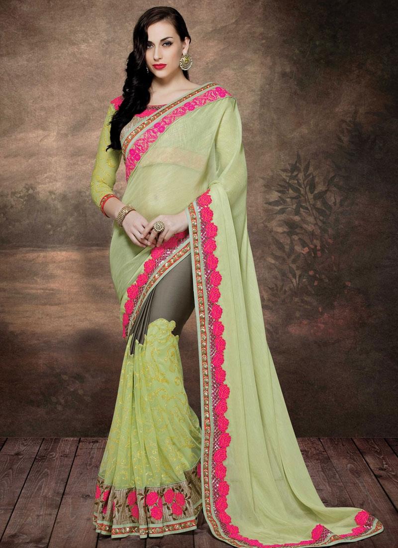 Modernistic Floral Work Net Designer Saree