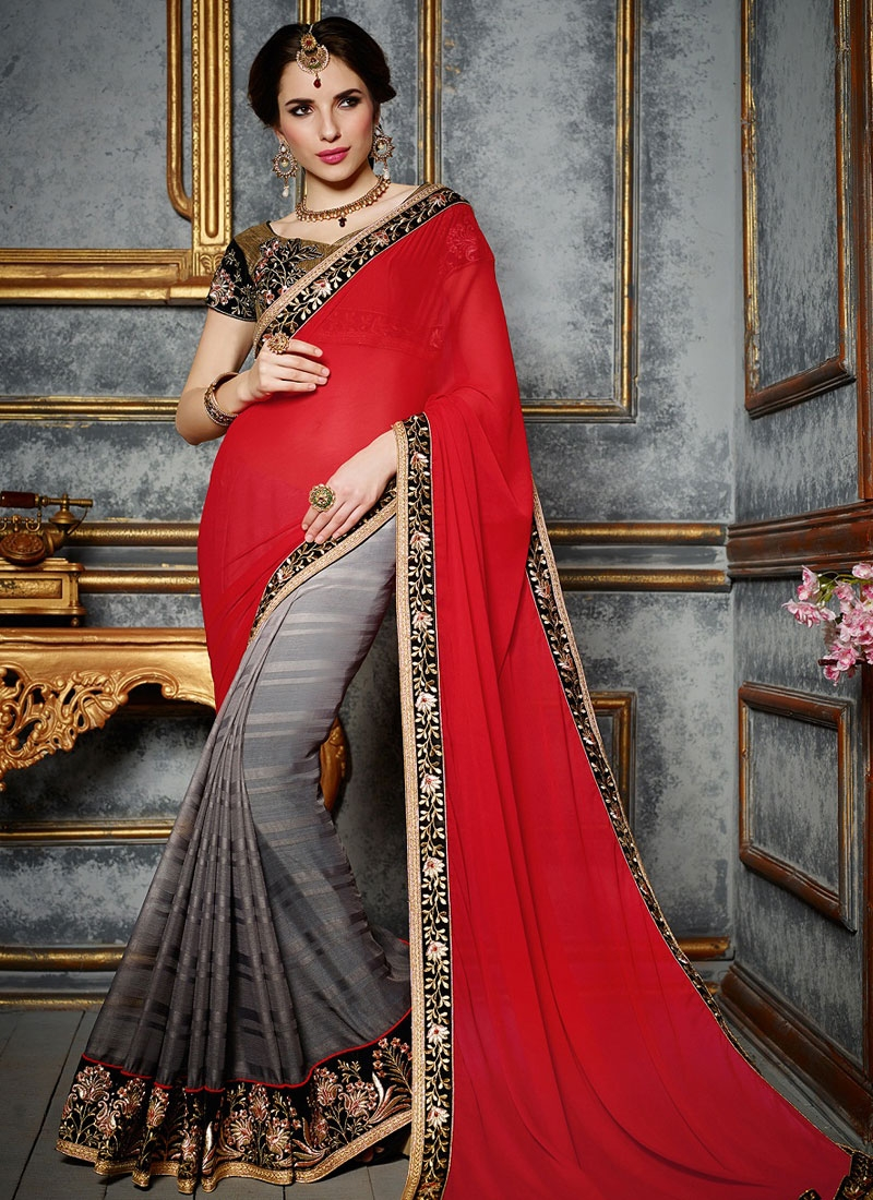 Modernistic Georgette And Jacquard Half N Half Party Wear Saree