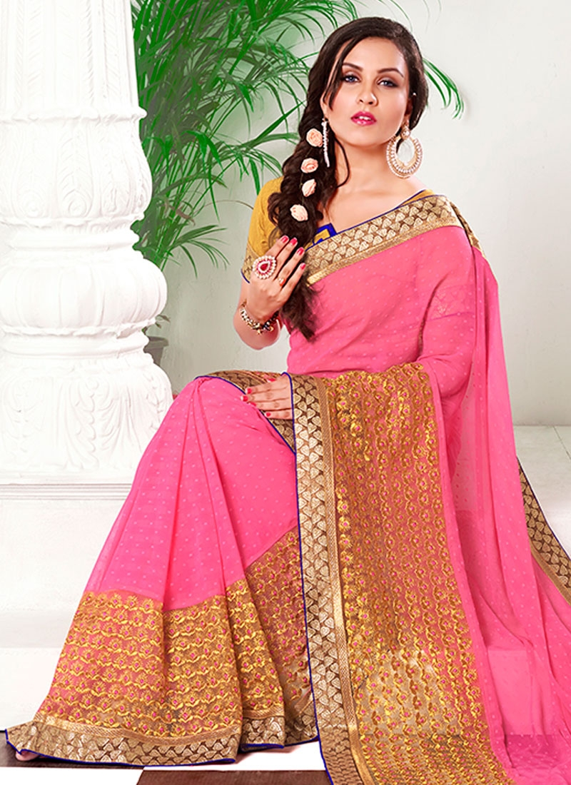 Modernistic Hot Pink Color Party Wear Saree
