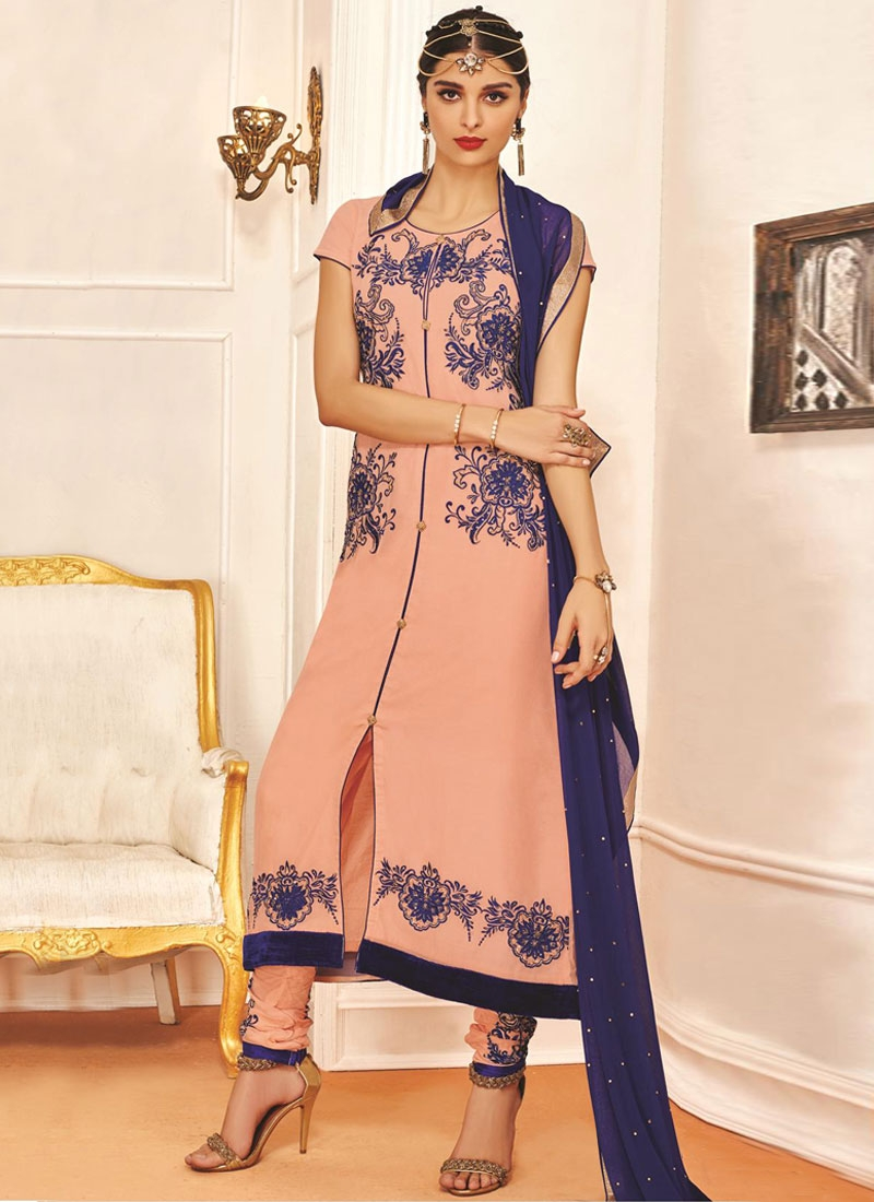 Modernistic Lace And Resham Work Party Wear Suit