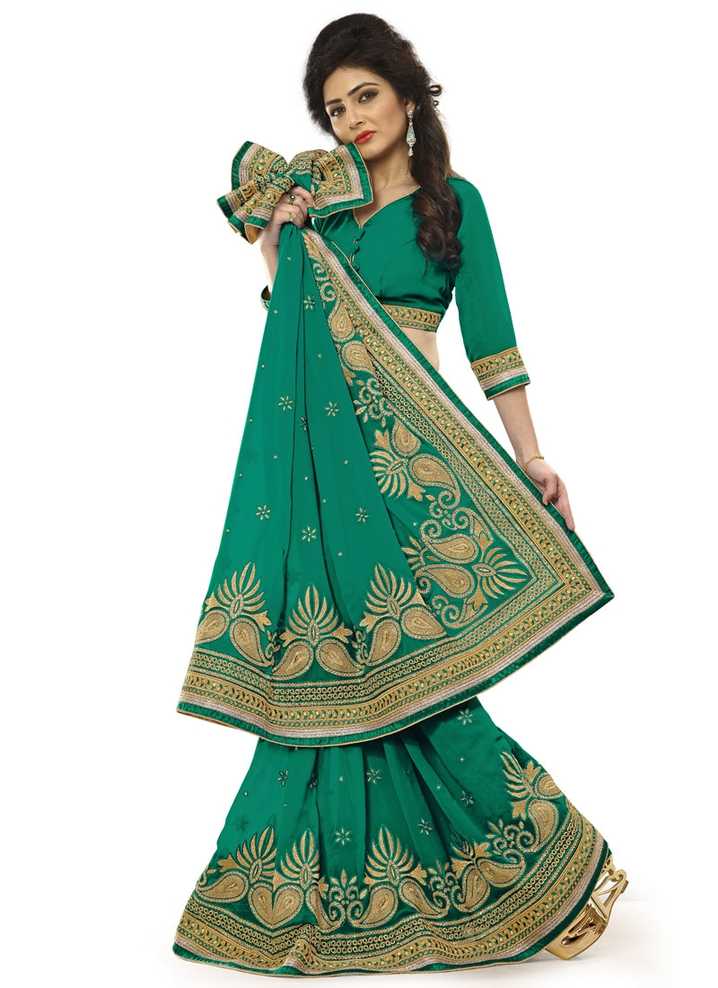 Modernistic Lace Work Sea Green Color Party Wear Saree