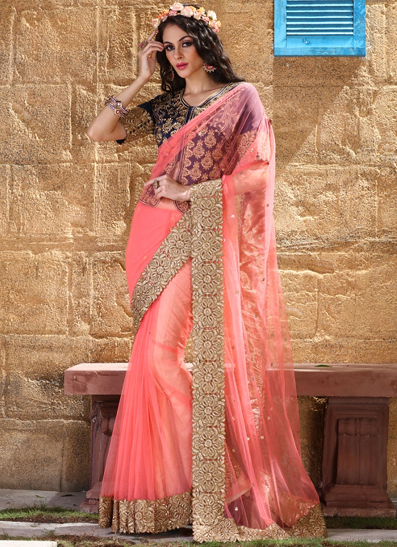 Modernistic Lace Work Wedding Saree