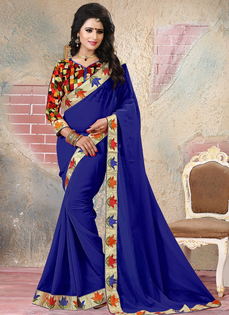 Modernistic Navy Blue Color Resham Work Party Wear Saree