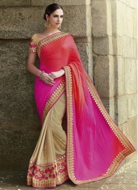 Modernistic Patch Border And Mirror Work Half N Half Wedding Saree