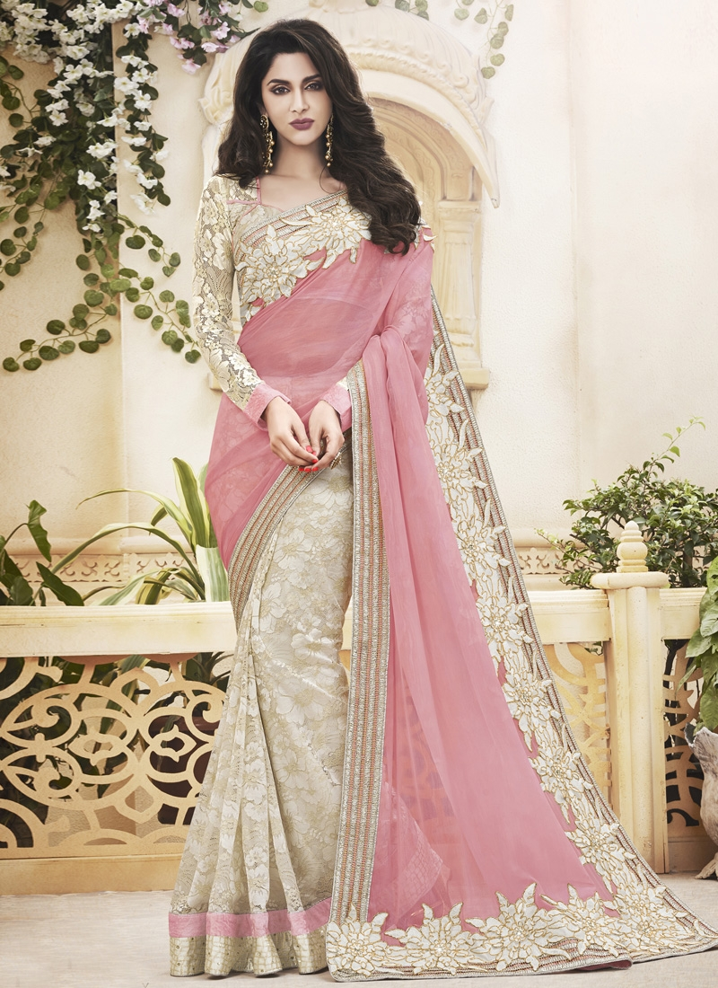 Modernistic Patch Border Work Half N Half Designer Saree