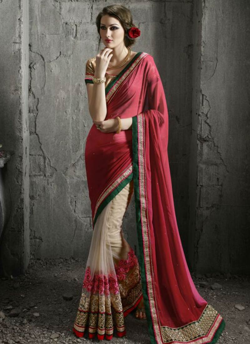 Modernistic Patch Border Work Half N Half Wedding Saree