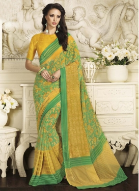 Modernistic  Print Work Mint Green and Yellow Faux Chiffon Contemporary Style Saree