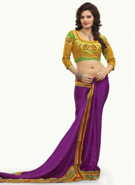 Modernistic Purple Color Party Wear Saree