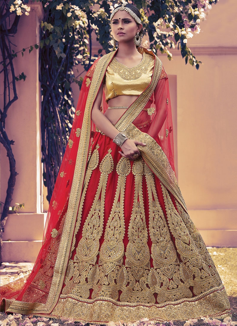 Modernistic Red Color Net Stone Work Bridal Lehenga Choli