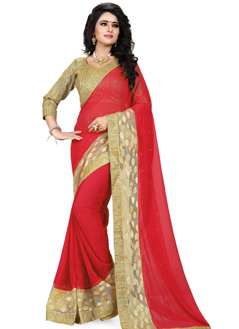Modernistic Red Color Resham Work Party Wear Saree