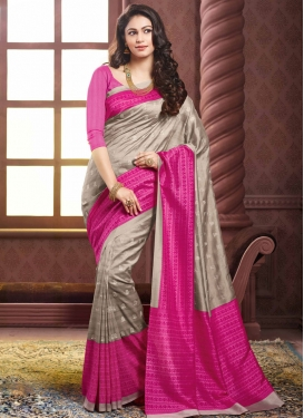 Modernistic Rose Pink And Silver Color Party Wear Saree