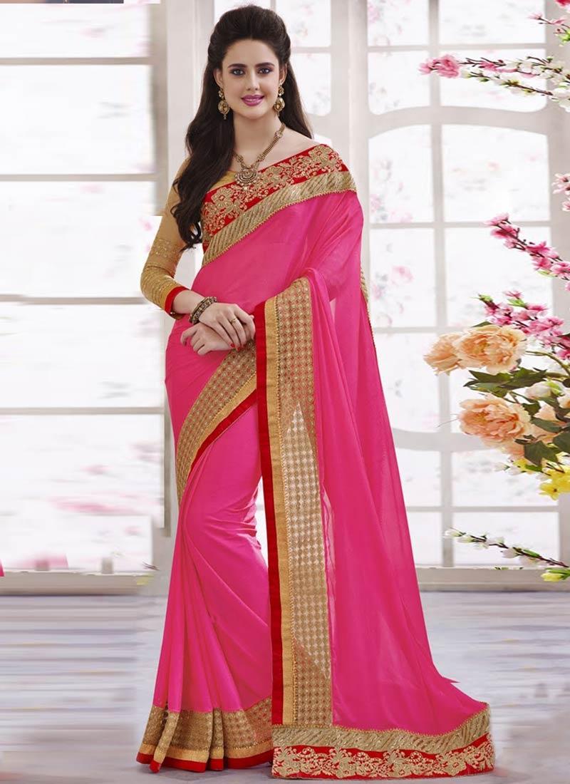 Modernistic Rose Pink Color Resham Work Designer Saree
