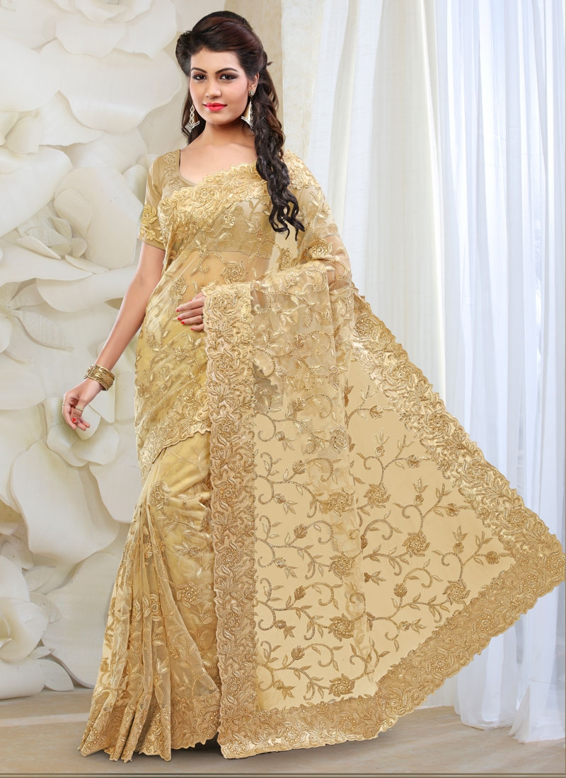 Modernistic Stone And Embroidery Work Bridal Saree