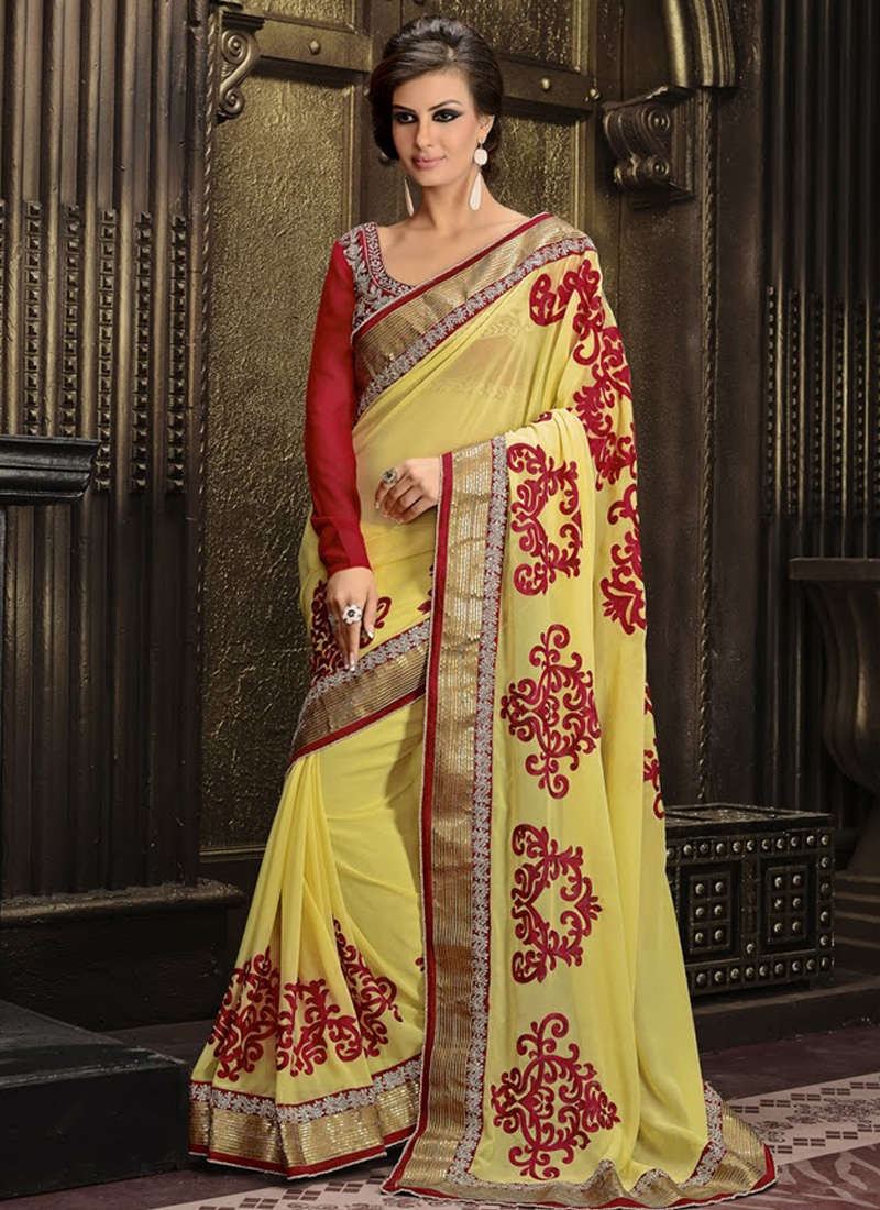 Modernistic Yellow Color Resham Work Party Wear Saree
