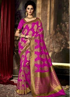 Modest Art Raw Silk Resham Work Contemporary Saree For Ceremonial