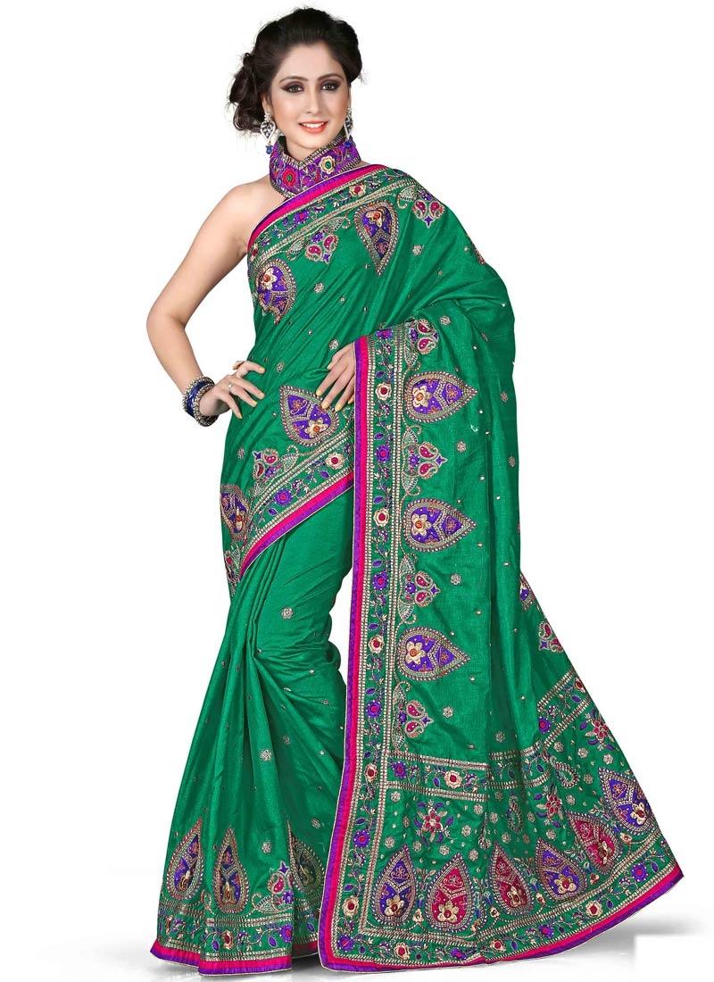 Modest Art Silk Stone Work Wedding Saree