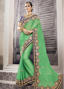 Modest Beads Work Chiffon Satin Trendy Saree For Party