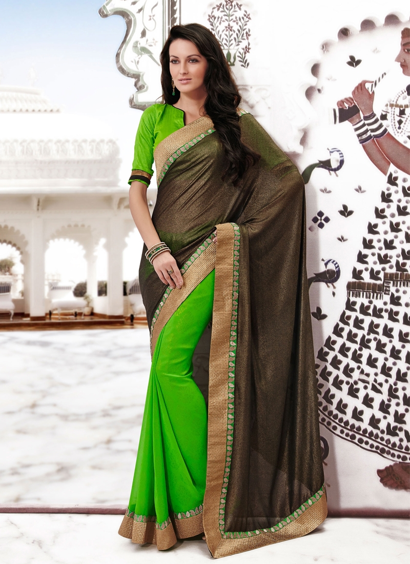 Modest Black And Green Color Half N Half Saree
