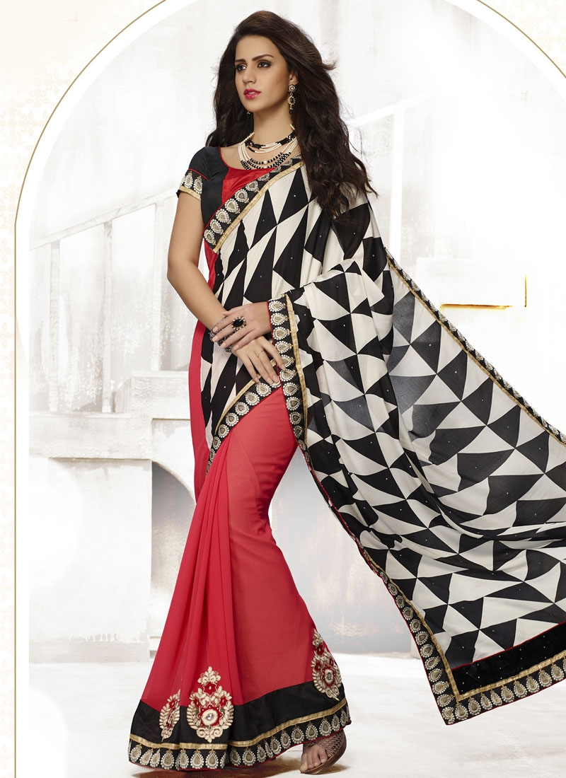 Modest Black And Red Color Half N Half Casual Saree