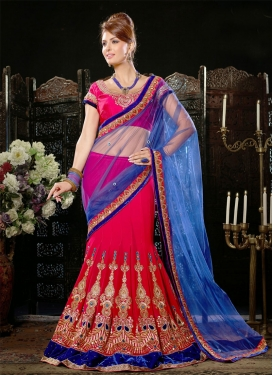 Modest Booti And Velvet Patch Work Lehenga Saree