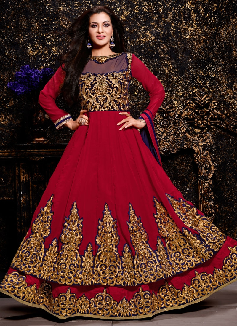 Modest  Booti Work Layered Anarkali Suit
