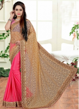 Modest  Crush Embroidered Work Half N Half Designer Saree
