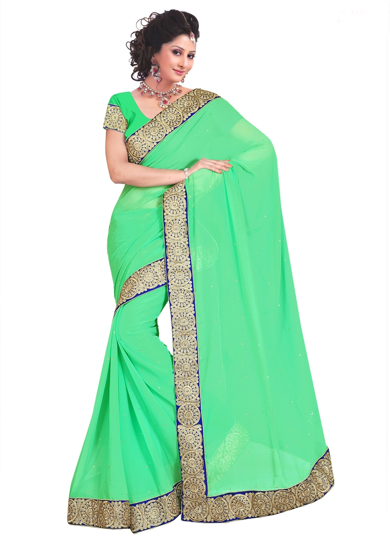 Modest Faux Chiffon Mint Green Color Casual Saree
