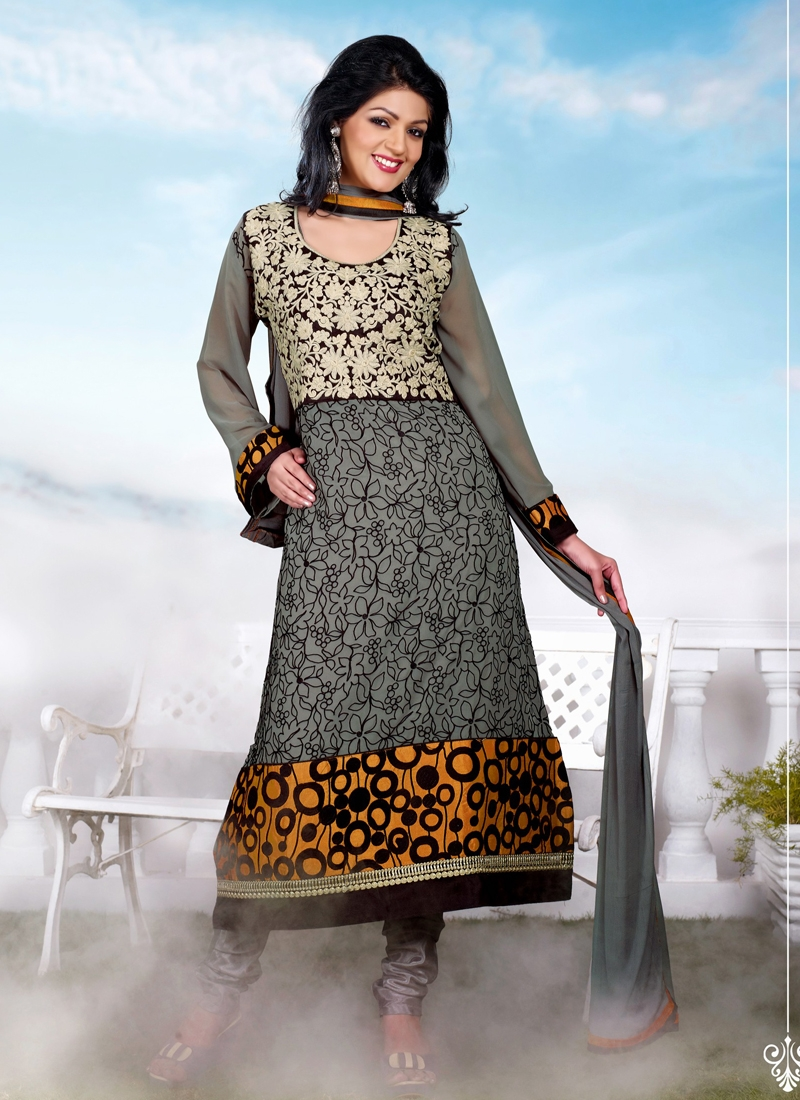Modest Floral And Resham Work Churidar Suit