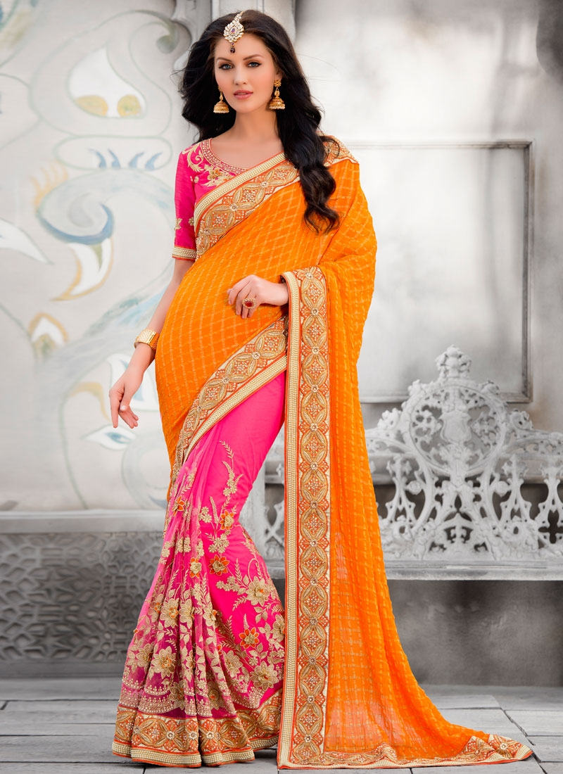 Modest Lace And Stone Work Half N Half Wedding Saree