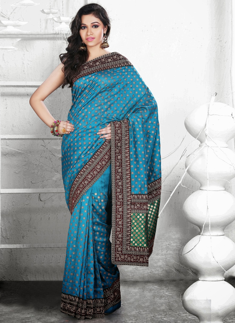 Modest Lace Enhanced Party Wear Saree