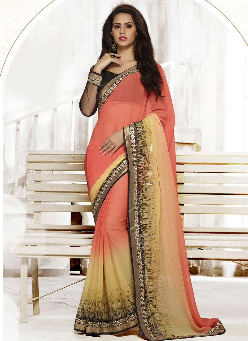 Modest Lace Work Salmon Color Casual Saree